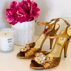 Miu Miu gold and Swarovski heels size 37.5